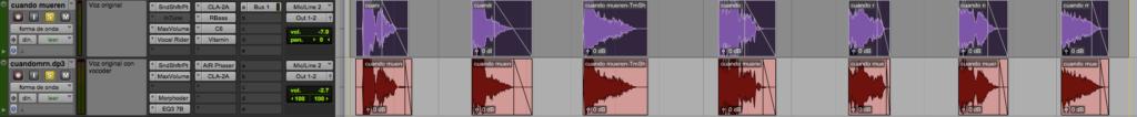 Plugins y edición de la pista principal y su copia con vocoder.